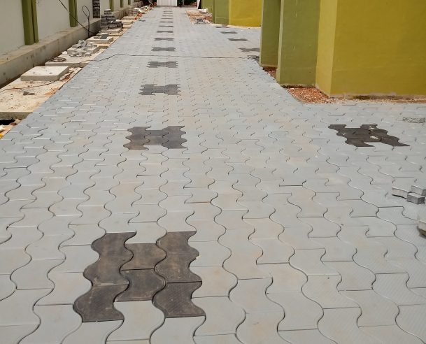 INTERLOCK BLOCK LAYING - 50% OF THE TOTAL AREA COMPLETED 06.09.2017