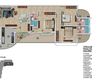 Type D - First Floor  2092 sq.ft -3BHK