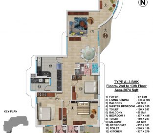 Type A - 2nd to 13th 2074 sq.ft - 3BHK