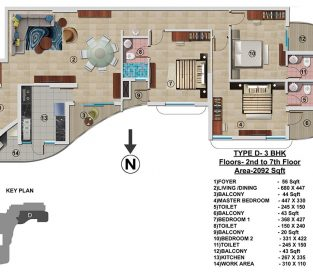 Type D - 2nd to 7th 2092 sq.ft - 3BHK