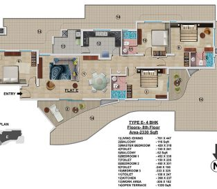 Type E - 8th Floor 2330 sq.ft - 4BHK