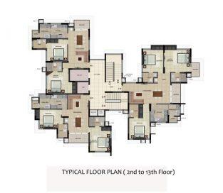 TYPICAL FLOOR PLAN 2 TO 13th floor