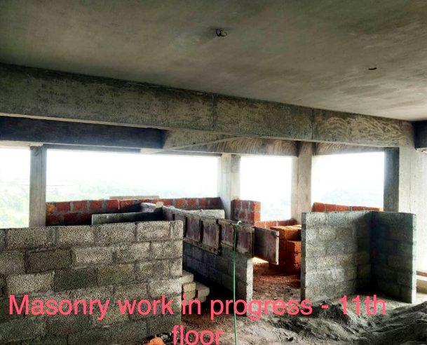 MASONRY WORK IN  IN PROGRESS - 11TH FLOOR : 31-01-2021