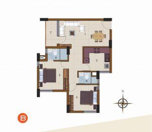 B-1st Floor to 10th Floor (2BHK)
