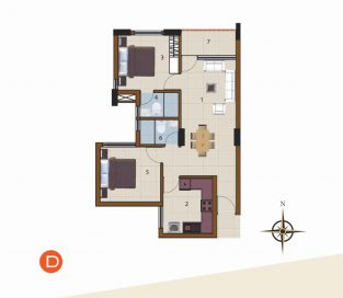 D-1st Floor to 9th Floor (2BHK)