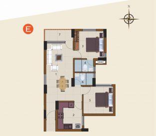 E-1st Floor to 10th Floor (2BHK)