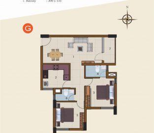 G-1st Floor to 10th Floor (2BHK)
