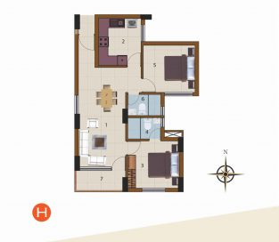 H-1st Floor to 10th Floor (2BHK)