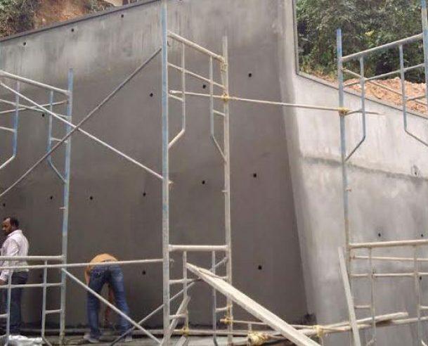 Plastering work in progress(retaining wall) - (Nov 2016)