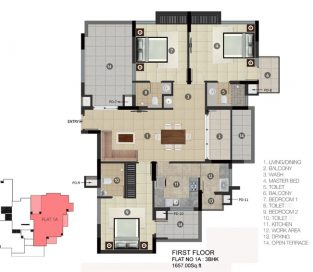 FIRST FLOOR Flat 1A 3BHK 1657.00 Sq.ft.