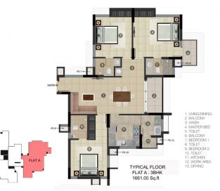TYPICAL FLOOR Flat A 3BHK 1661.00 Sq.ft.