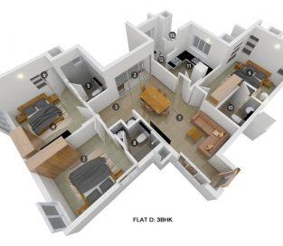 Flat D 3BHK