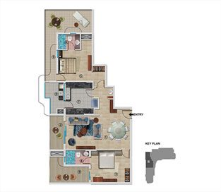Type B - First Floor 1408 sq.ft - 2BHK