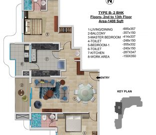 Type B - 2nd to 13th 1408 sq.ft - 2BHK