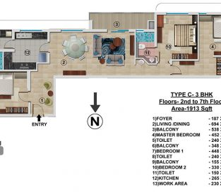 Type C - 2nd to 7th 1913 sq.ft - 3BHK