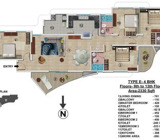 Type E - 9th to 13th 2330 sq.ft - 4BHK