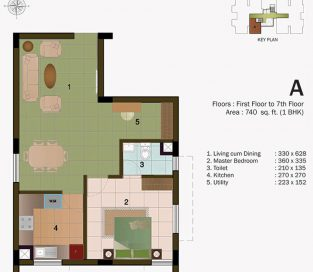 TYPE A - FIRST FLOOR 740 sq.ft - 1BHK