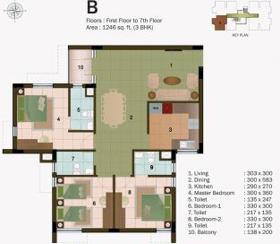 TYPE B - FIRST FLOOR TO 7TH FLOOR - 1246 sq.ft - 3BHK