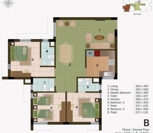 TYPE B - GROUND FLOOR 1208 sq.ft - 3BHK