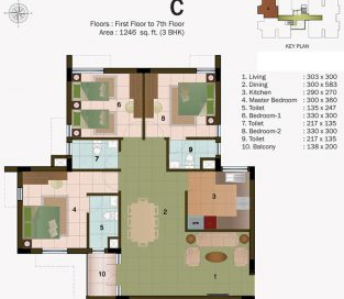 TYPE C - FIRST FLOOR TO 7TH FLOOR -1246 sq.ft - 3BHK