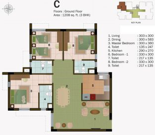 TYPE C - GROUND FLOOR 1208 sq.ft - 3BHK