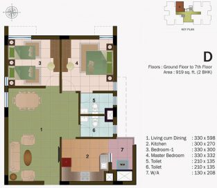 TYPE D - GROUND FLOOR TO 7TH FLOOR - 919 sq.ft - 2BHK
