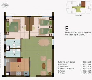 TYPE E - GROUND FLOOR  TO 7TH FLOOR -889 sq.ft - 2BHK