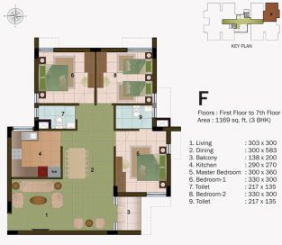 TYPE F - FIRST FLOOR  TO 7TH FLOOR -1169 sq.ft - 3BHK