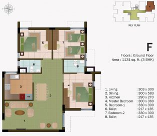 TYPE F - GROUND FLOOR 1131 sq.ft - 3BHK