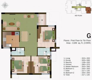 TYPE G - FIRST FLOOR  TO 7TH FLOOR -1169 sq.ft - 3BHK