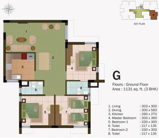 TYPE G - GROUND FLOOR 1131 sq.ft - 3BHK