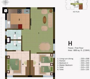 TYPE H - FIRST FLOOR 889 sq.ft - 2BHK