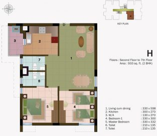 TYPE H - SECOND FLOOR TO 7TH FLOOR - 933 sq.ft - 2BHK